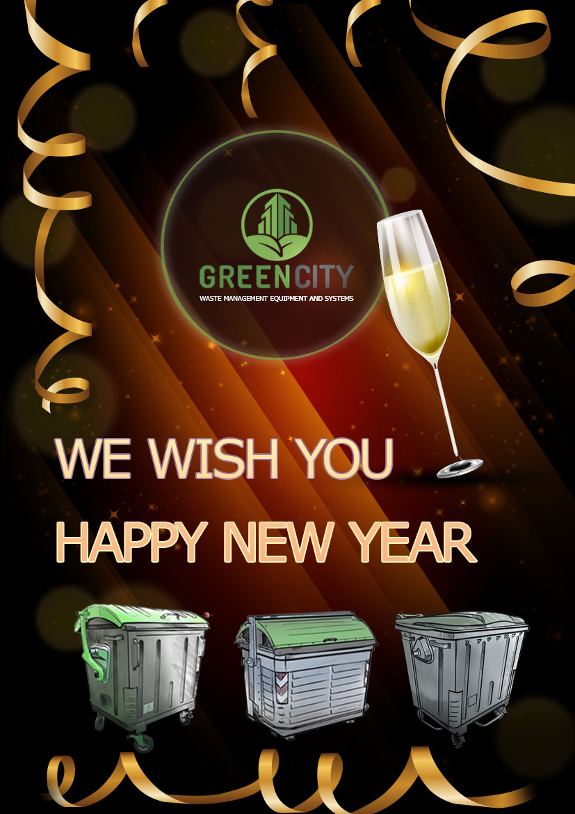 New year card Green City