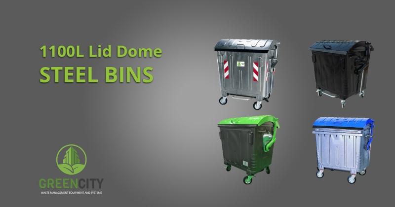 gci steel bins with dome lid colour variants