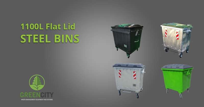 gci steel bins with flat lid colour variants